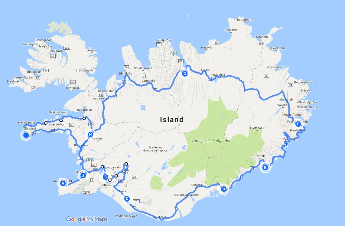 Route unserer Island-Reise