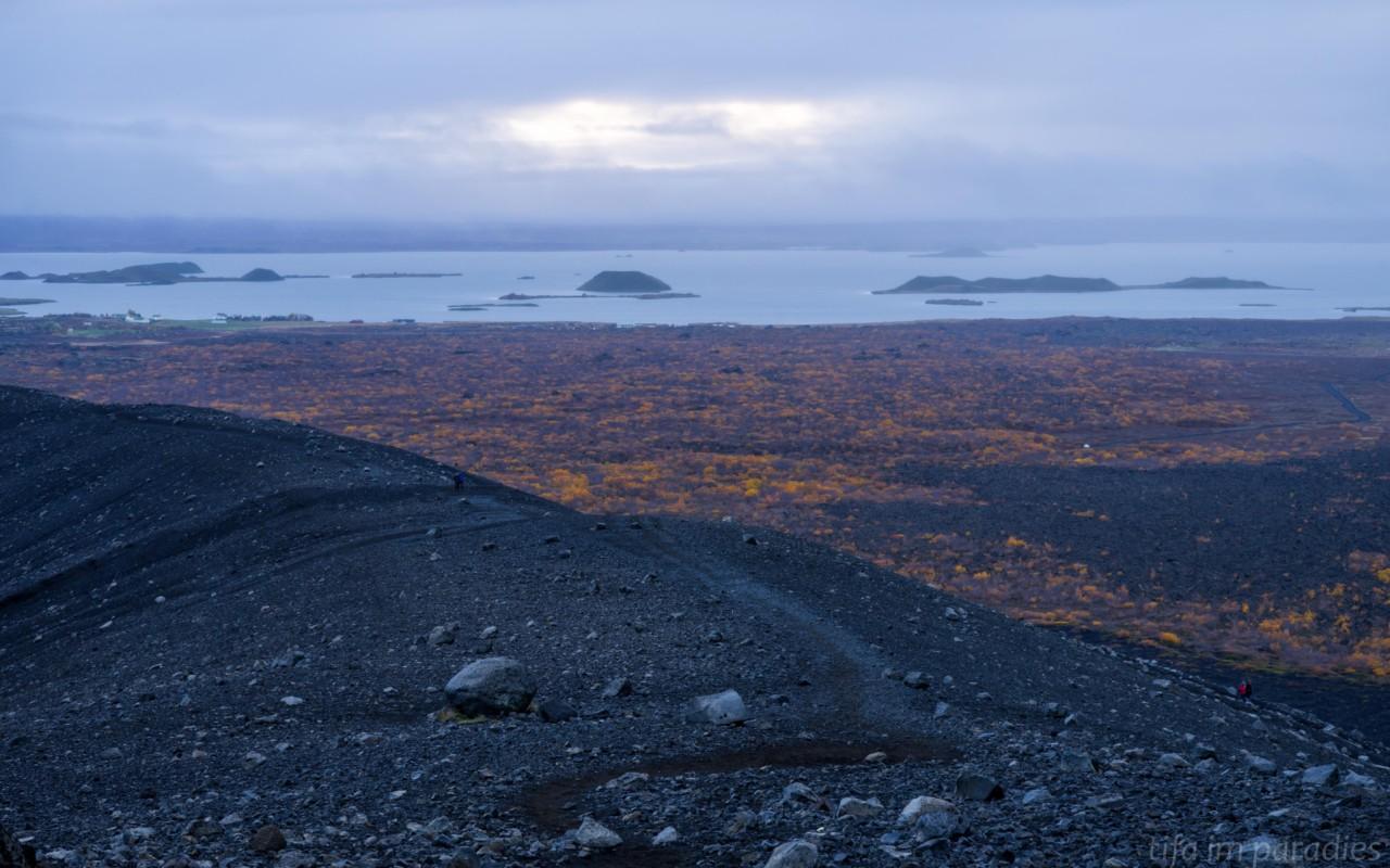 Aussicht vom Hverfjall auf den Mývatn-See
